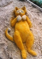Sand Sculpture Garden Cat
