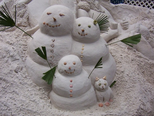 Snow Family with Cat